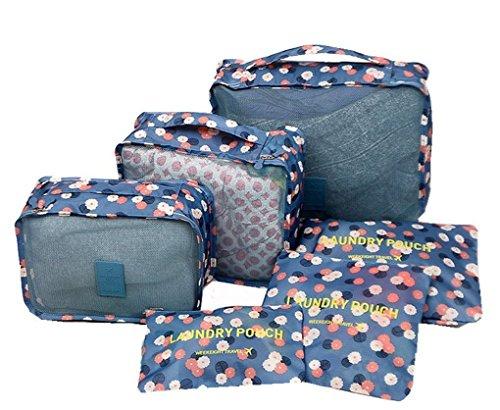 Yimoji 6pcs Luggage Travel PACKING Cube Bags multiuso cosmetici di biancheria intima vestiti scarpe organizzatori Storage Bags set Blu Flora-Blue 6 Sets