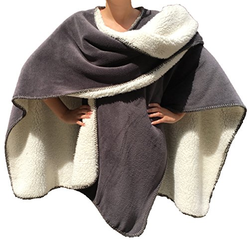 Classic Textiles Of Sweden - Poncho Vail 120x150cm | Super Flauschig | Extra Dick | Perfekt zum Überwerfen und einkuscheln (grau)