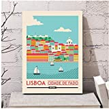 Póster de lienzo de viaje de Lisboa Portugal, imágenes artísticas de pared para sala de estar, 50x70cm sin marco