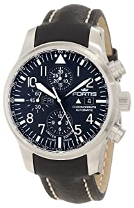 Fortis Men's 701.10.81 L.01 F-43 Flieger Chronograph Black Automatic Chronograph Date Leather Watch image