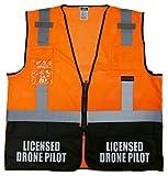 Drone Pilot Survivor Safety Vest, Type R Class 2, Refelective Logo Front and Back. (Safety Orange, s/m)