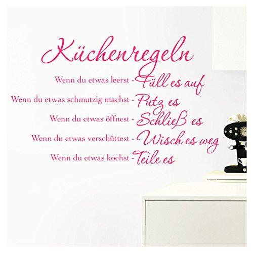 Grandora Wandtattoo Küchenregeln I pink (BxH) 94 x 58 cm I Küche Spruch Zitat Aufkleber selbstklebend ablösbar Wandaufkleber Wandsticker Sticker W957