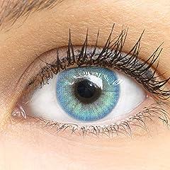 GLAMLENS lentillas de colores azules Jasmine Blue + contenedor. 1 par (2 piezas) - 90 Días - Sin Graduación - 0.00 dioptrías - blandos - Lentes de contacto azul de hidrogel de silicona