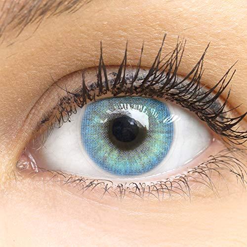 Glamlens lentilles de couleur bleu naturelles colorées très haute opacité Jasmine Blue + étuis à lentilles de contact I 1 paire (2 pièces) I DIA 14,00 I sans correction I 0,00 Dioptries