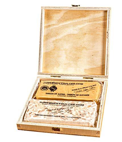 Turrones Fabián Caja Estuche de Pino con Tapa (vacía) - Barnizado y con Visagras Doradas - 20,5cm x 20,5cm x 4cm
