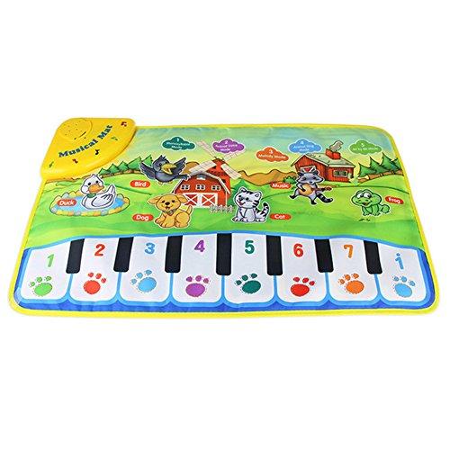 Klavierteppich für Babys, Kinder, Zoo-Tier-Motiv, Spielmatte, Spielzeug, Klavier, Musik, Spielmatte