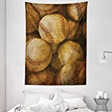 Ambesonne Vintage Tapestry, Vintage Baseball Background American Sports Theme Nostalgic Leather Retro Balls Artwork, Wall Hanging for Bedroom Living Room Dorm Decor, 60' X 80', Brown