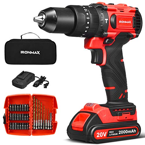 """Goplus Cordless Drill, 20V Brushless 1/2"""" Drill Driver Kit Hammer Drill Set with Battery and Charger, 60N.m Torque, 20+1+1+1 Clutch, 2-Variable Speed, 32pcs Accessories"""