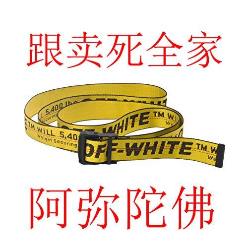 Lanfuu off white INDUSTRIAL cintura giallo cinture di design fibbia nera cinture in vita lunghezza 6,5 piedi (Giallo)