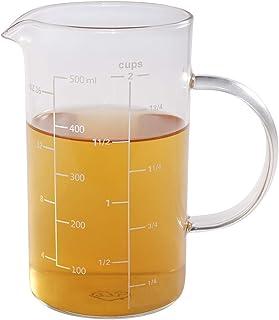 77L Vaso medidor, Taza de medición de cristal [manija aislada, canalón en forma de V], taza de medición del alto vidrio de borosilicate de para la cocina o el restaurante, 500 ML (0,5 L, 2 Cup)