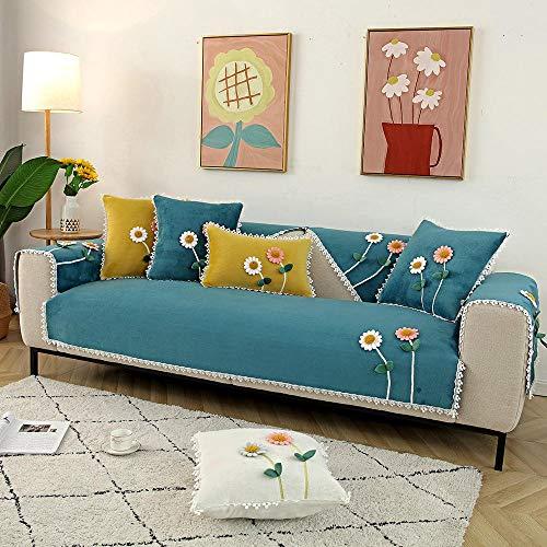 Suuki Fundas Sofa Chaise,Forro de Sofa Forma de L,Funda de sofá de Felpa de Estilo Rural, Fundas de sofá con Estampado de Flores de otoño Invierno, Protector de sofá súper Suave para Sala de Estar-