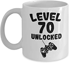 Level 70 Unlocked Mug - 70th Birthday Gift For Video Gamer - 70 Years Old Funny Idea Gifts For Men Women - White Ceramic Coffee Tea Cup