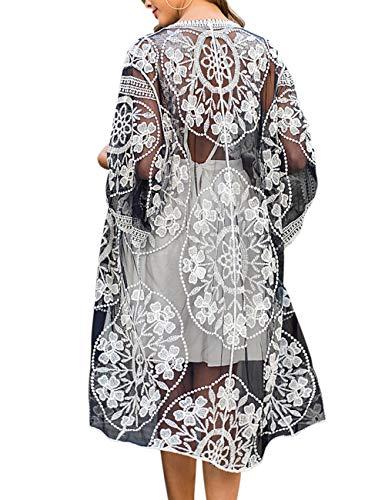 iWoo Strandtunika Damen Kimono Sommer Perspektivische Sexyhohl Spitzen Cardigan Crochet Vorne Kleidung für Damen-Schwarz Weiß