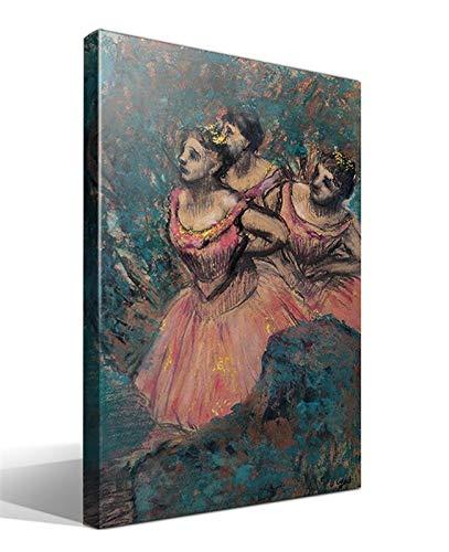 Cuadro Canvas Tres Bailarines en Traje Rojo de Edgar Degas