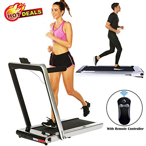 2 in 1 Under Desk Folding Treadmill,Electric Motorized Portable Pad Treadmills Walking Jogging Running Exercise Fitness Machine with Remote Controller and Bluetooth Speaker for Home Gym Office (Grey)