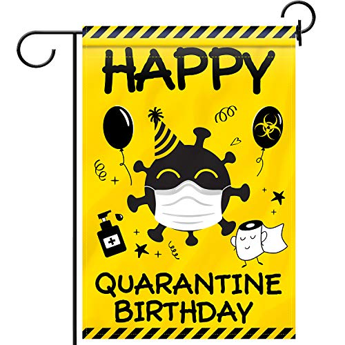 Blulu Quarantine Birthday Garden Flag Funny Double-Sided Decorative Flag with Toilet Paper Pattern Fabric House Yard Welcome Flag for Happy Quarantine Birthday Party Decoration, 12.6 x 18.5 Inch