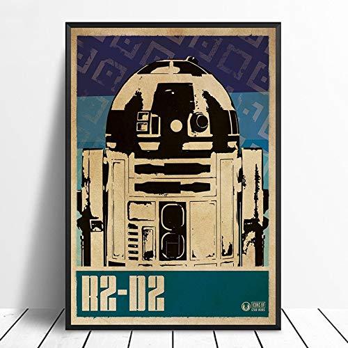 Leinwand Malerei R2-D2 Star Wars Pop Art Minimalismus Vintage Filmplakat Wohnkultur Wanddekoration Wandkunst Leinwanddruck Gemälde 50 * 70cm