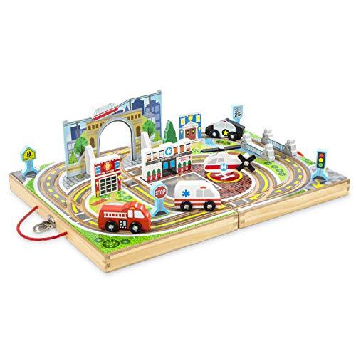Melissa & Doug 18-Piece Wooden Take-Along Tabletop Town  4 Rescue Vehicles  Play Pieces  Bridge
