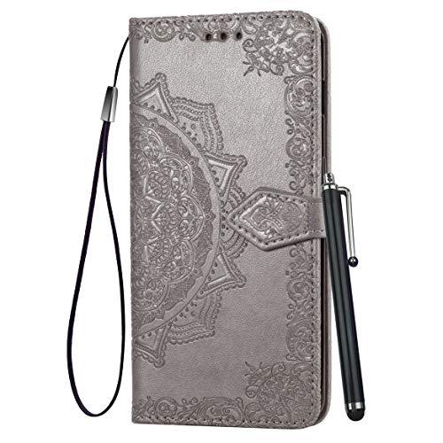 Yiizy Handyhüllen für Motorola One Action Ledertasche, Sonnenblume Stil Lederhülle Brieftasche Schutzhülle für Motorola One Action hülle Silikon Cover mit Magnetverschluss Kartenfächer (Grau)
