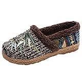Zapatos De Tela De Gran TamañO-Zapatos De AlgodóN Mujer-Zapatos Madre Antideslizantes De Fondo Suave-AdemáS De Terciopelo Mantener El Calor Estilo Nacional Bohemio Zapatillas Casuales(Negro,36EU)
