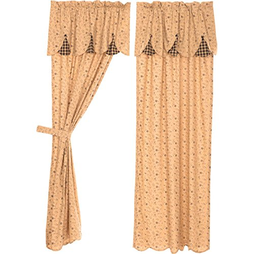 VHC Brands Maisie Panel with Attached Scalloped Layered Valance Set of 2 84x40 Country Curtains, Tan