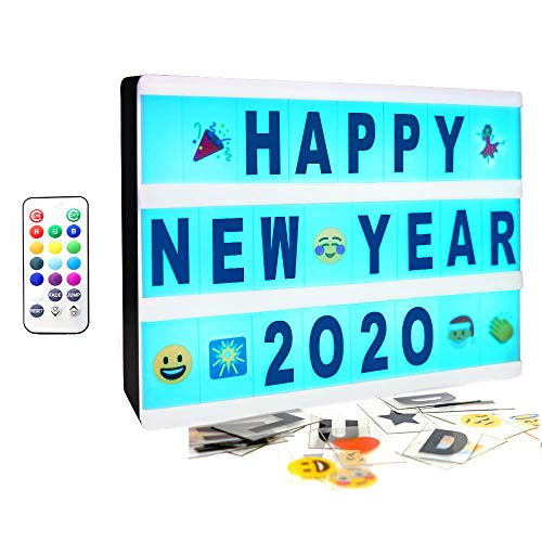 SUOMEI Color Changing Cinematic Light Box- A4 Mini Cinema Light Up Sign with 160 Letters Numbers and Symbols, Personalized 13 Colored LED Lightbox for Home Decor,Wedding,Birthday Parties