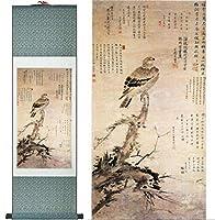中国の芸術と鳥の絵画ホームオフィスの装飾中国の巻物の絵画鳥と花の絵画印刷された絵画-100cmx30cm_Green_package