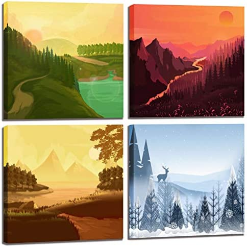 CGXART Nature Wall Art National Park Posters Four Seasons Landscape Pictures For Living Room product image