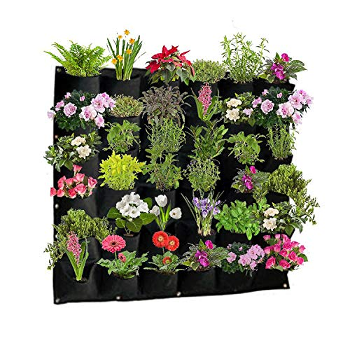 Active Gear Guy Vertical Hanging Outdoor Wall Planter with 36 Felt Pockets to Hold Living or Artificial Plants, Flowers, and Herbs, Great Décor for Patios, Gardens, and Entryways, Lightweight