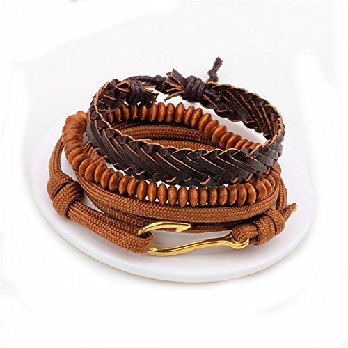 Pulsera Brazalete, Joyeria Regalo, 1 Set 4PCS Leather Bracelet Men's Multi-Layer Bead Bracelet Women's Retro Punk Casual Men's Jewelry Bracelet Jewelry Accessories QN9A