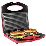 OZAVO Toaster Croque Monsieur 3 en 1 Appareil Panini Grill Antiadhésive 750W Sandwich Maker Presse à Panini | 22 x 22 x 7.5cm - Rouge