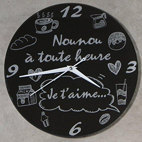 (HgNo) Horloge Je t'aime Nounou – Cadeau pour la fête des Nounous, Noël, Anniversaire, fin de contrat, fin d'année scolaire