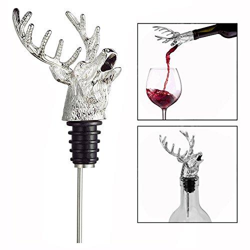 OFKPO Bouchon de Vin de Tête de Cerf en Métal, Verseur de Vin et Vin Bouchon de Bouteille, Outils pour Vin