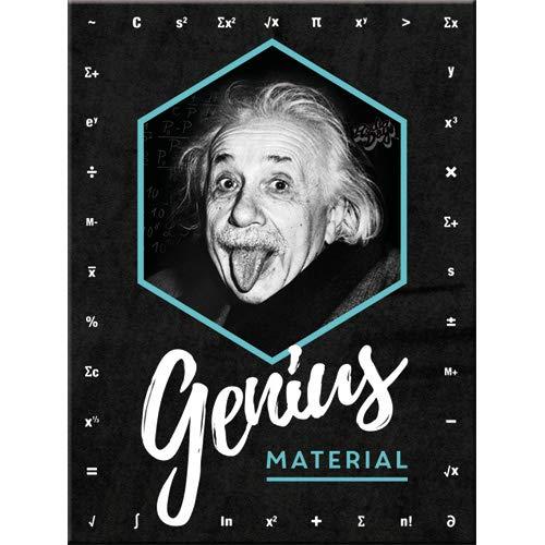 Nostalgic-Art Imán Retro para Nevera de Einstein – Genius Material – Idea de Regalo para Estudiantes, de Metal, diseño Vintage, 6 x 8 cm
