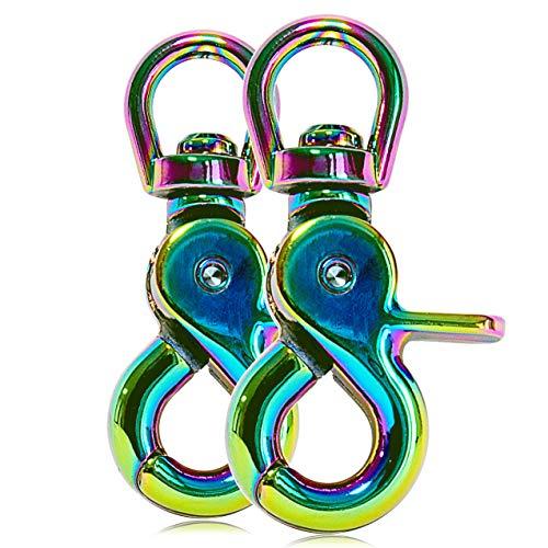 Ganzoo Scheren-Karabiner Haken mit Dreh-Gelenk/Dreh-Kopf für Hunde-Leine/Hals-Band 2er Set, legierter Stahl 61 mm Länge, auch für Paracord 550 / Schlüssel-Anhänger, Farbe: Regenbogen