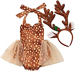 Newborn Baby Girl Christmas Outfit Deer Romper Halter Lace Tulle Tutu Dress Bodysuit+Antler Headband 2PCS Xmas Clothes Set