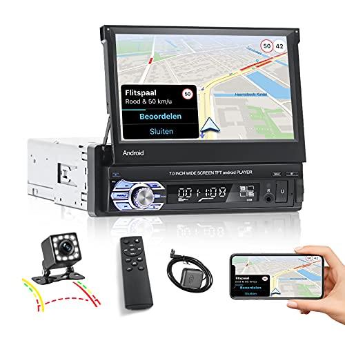 NHOPEEW Autoradio 1 Din, Autoradio Android 10.1 Con Bluetooth FM WiFi Navigazione GPS Collegamento Specchio Telefono, Schermo Flip HD + Fotocamera Di Backup