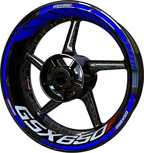 Motocicleta Moto Llanta Inner Rim Tape Decal Pegatinas F2 para Suzuki GSX 650 F 650F (Azul)