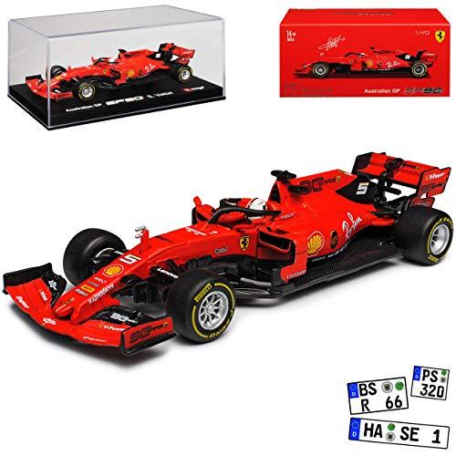 Ferrari SF90 Nr 5 Sebastian Vettel Saison 2019 Matt Rot mit Sockel und Vitrine 1/43 Bburago Modell Auto