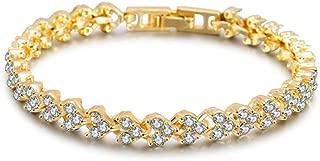 TULIP LY Roman Style Crystal Bracelet Glamorous Loving Heart Tennis Bracelets Wedding Bridal Ball Fine Bangle Shining Crystal Luxury Jewelry for Women Girls Gifts