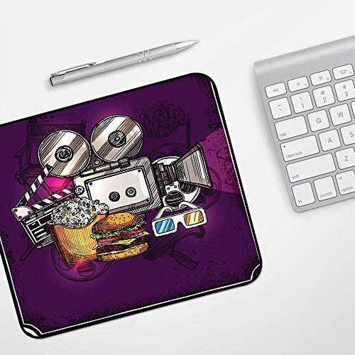 Gaming Mousepad Mauspad,Modern, Cartoon-like-Cinema Movie Image Burger Popcorn Brille Film ansehen, Petrol Hellgelb Dunkelbraun,Komfort Mousepad - verbessert Präzision und Geschwindigkeit