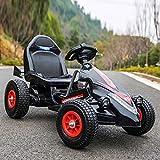 Coche eléctrico para niños Kart cuatro ruedas puesentarse Macho y hembra Bebé Control remoto Coche juguete Rueda inflable para niños ATV Azul Autoconducción 3-9 años (Rueda inflable) (Color: Negr