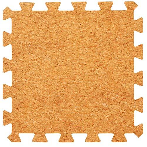 Korken Oberfläche ineinandergreifende Schaumstoffmatten - perfekt zum Bodenschutz, für die Garage, zum Trainieren, Yoga, und das Spielzimmer. Eva Schaumstoff (9 Fließen, Korken)