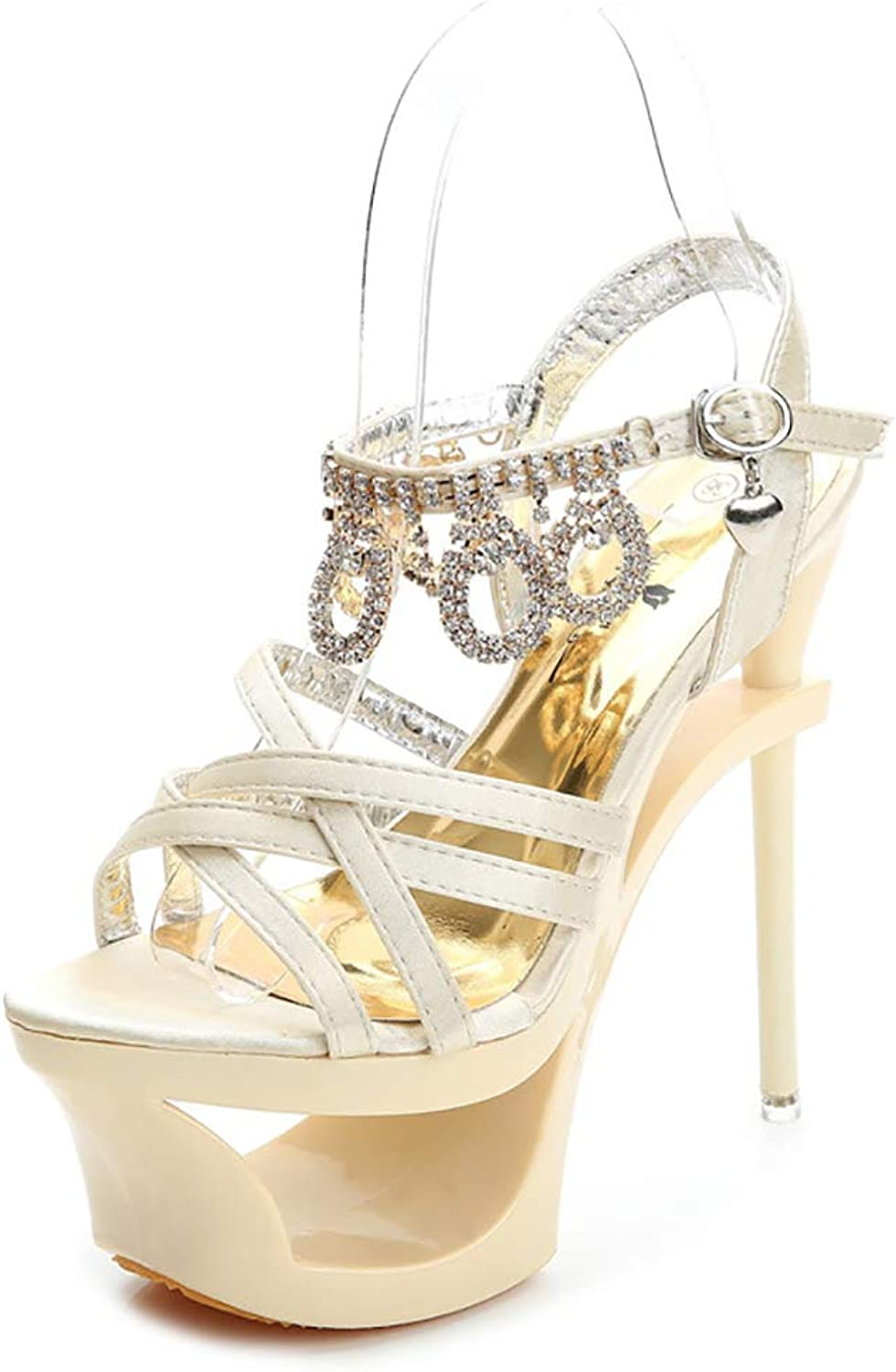 Mzq-yq Damen Plattform Riemchen Stiletto, Satin Strass Damen High Heel Cross Over Knchelriemen Sandalen Schuhe
