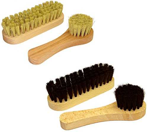 DELARA Schuhbürsten-Set: Kleine Schuhputz-Bürsten und Schuhcreme-Bürsten aus Holz mit Naturborsten, gesamt 4 Stück, Lederpflege und Schuh-Reinigung - Made in Germany