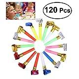 NUOLUX - Silbato de plástico con purpurina para fiestas, 120 unidades