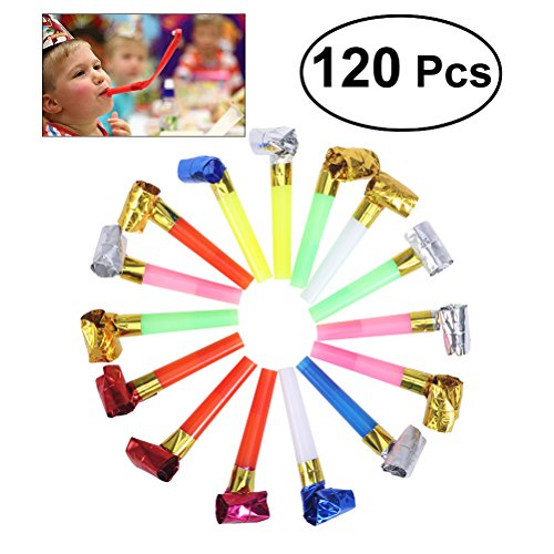 TOYMYTOY 120Pcs Party Blowouts Paper Blowouts Matasuegras y Juguetes ruidosos Color Aleatorio