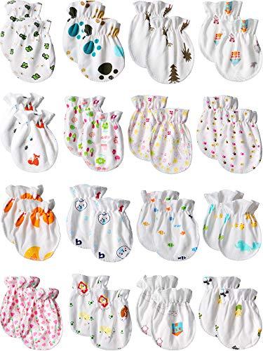 17 Pairs Newborn Baby Mittens No Scratch Baby Gloves Unisex Baby Gloves for 0-6 Months Baby Boys...