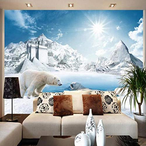 Mural 3D,Lovely Polar Bear Ice Snow Sunshine Wall Painting,Bedroom Living Room Sofa Non-Woven Wall Murals,Photo Wallpaper 280 cm (W) x 180 cm (H)