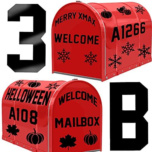 95 Pieces Reflective Mailbox Number Stickers Thanksgiving Mailbox Decor Rustic Thanksgiving Adhesive Letter Sticker Pumpkin Turkey Maple Leaf House Number Decals for Mailbox Address Window Door